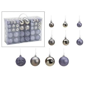Weihnachtskugelset Silber-Grau 100-teilig