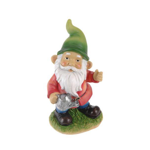 Gartenzwerg mit grüner Mütze, 23 cm