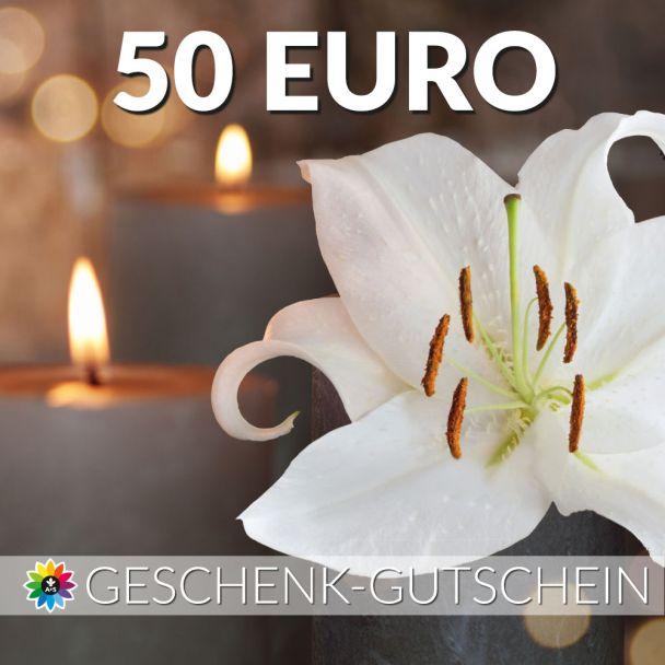 Geschenk-Gutschein, Wert 50 Euro Kerze