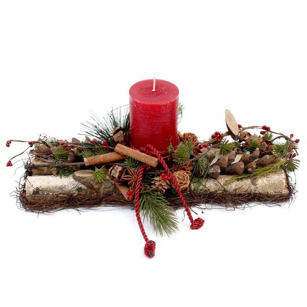 Längliches Gesteck mit roter Kerze - NaturProdukt