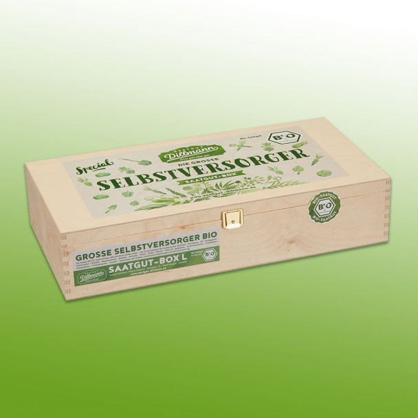 Selbstversorger Saatgut-Holzbox L Bio, 22 Tüten