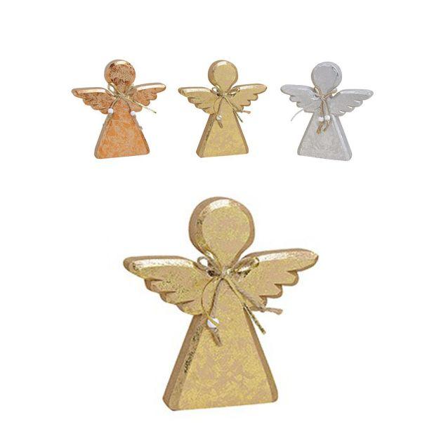 Engel aus Holz, 18 x 2 x 19 cm, gold