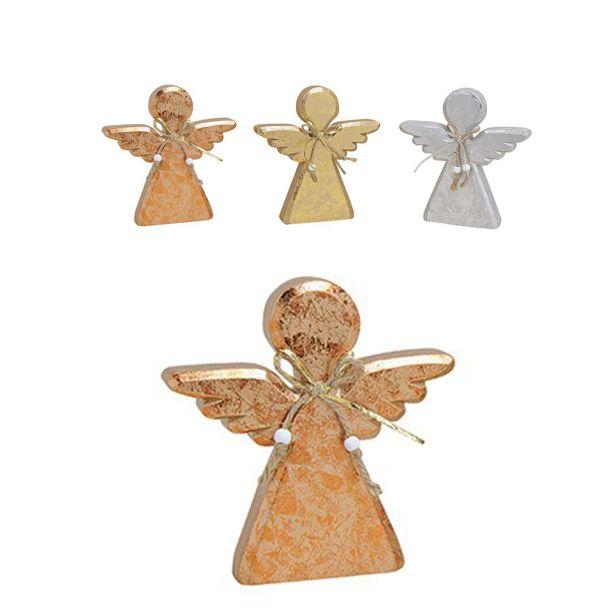Engel aus Holz, 18 x 2 x 19 cm, kupfer