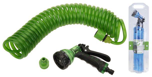 Gartenschlauch mit 7fach Brause, Spiralschlauch - Länge: 7,5 m mit Universal Anschluss, grün