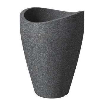 'wave globe® high' Schwarz-Granit 40 cm Hochgefäß