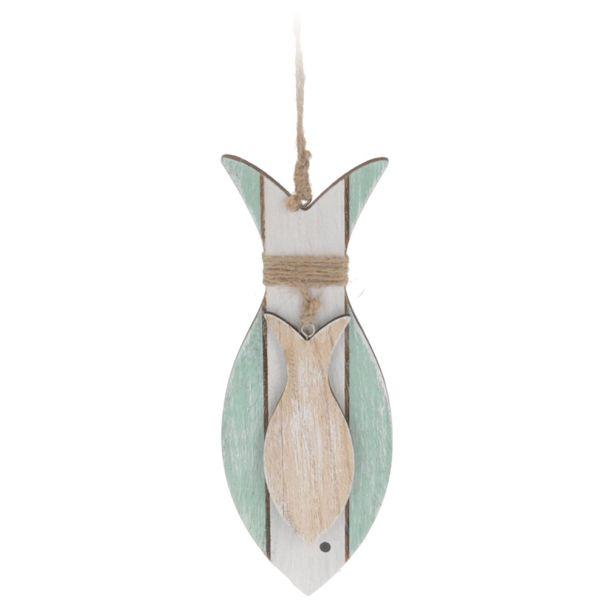 Deko Hänge-Fisch 'groß', hellgrün-weiß