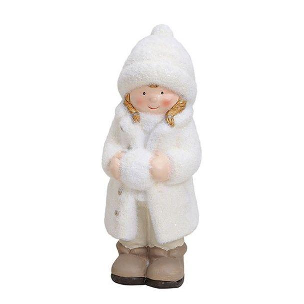 Winterkind 'Mädchen' aus Ton, 9 x 9 x 23 cm, weiß