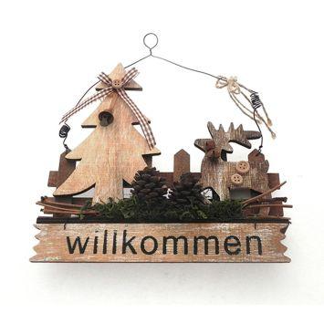 Weihnachtsanhänger 'Willkommen' aus Holz