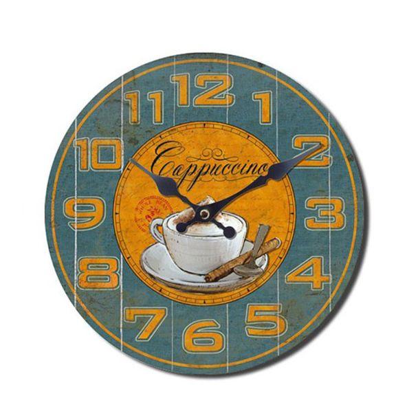 Wanduhr Kaffeedesign 'Cappuccino', 28 cm, blaugelb