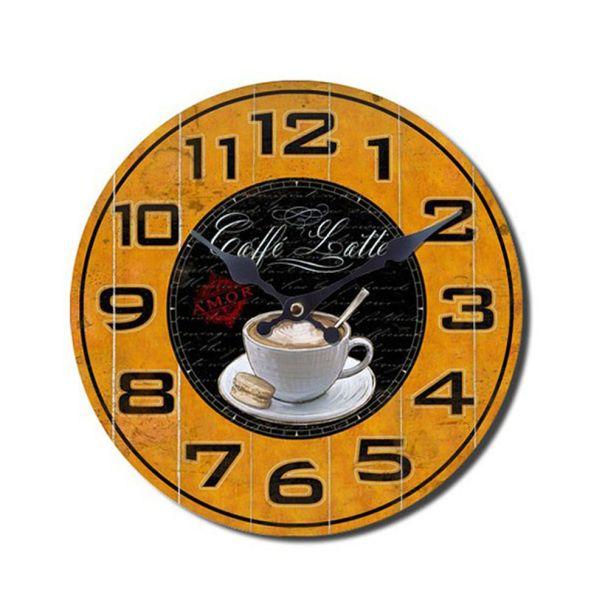 Wanduhr Kaffeedesign 'Caffé Latte', 28 cm, gelbschwarz