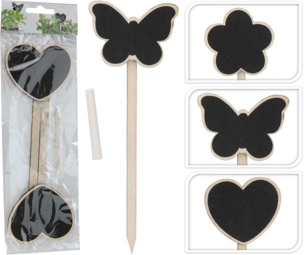6er Set Pflanzschilder / Pflanzstecker: 2x Herz , 2 x Schmetterling, 2 x Blume