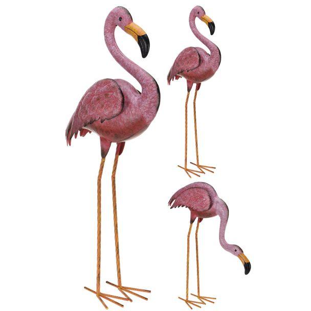Deko Flamingo Metall Set Flamingo stehend + bückend