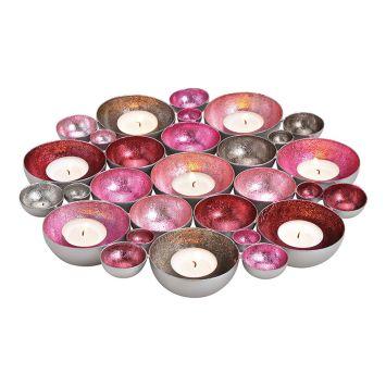 Schale/Windlicht Metall Pink, Rosa, Silber, 30cm