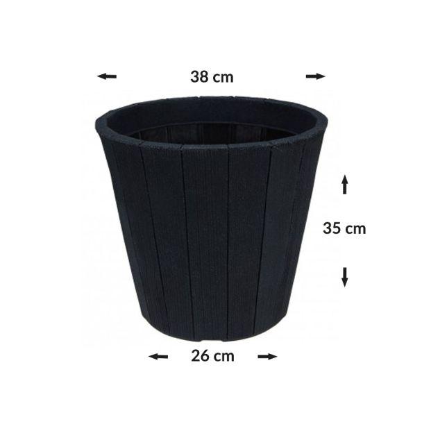 Blumentopf in Holzoptik, rund, schwarz