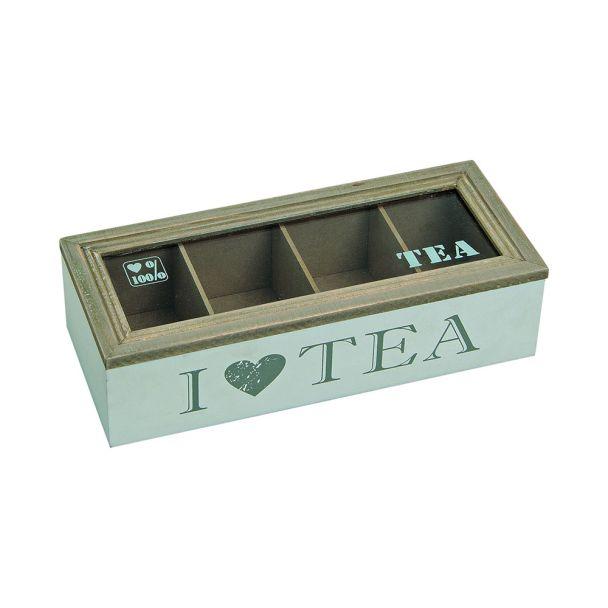 Teebox für Teebeutel mit 4 Fächer