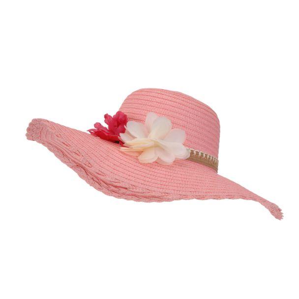 Damenhut mit Blüten, rosa