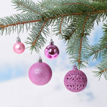 Weihnachtskugelset Rosa 100-teilig