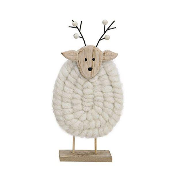 Elch aus Holz mit Wolle, 3 x 5 x 27, weiß