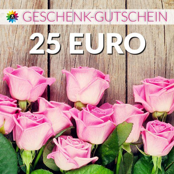 Geschenk-Gutschein, Wert 25 Euro Rosen