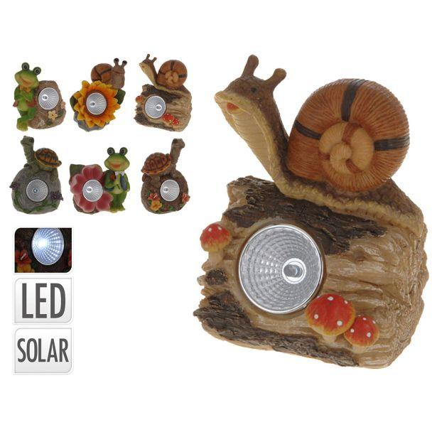 Solarlampe 'Schildkröte auf Stein mit orangenen Blüten'
