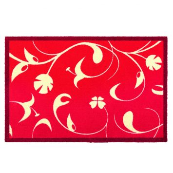 Fußmatte 'Jardin des plantes' Blumengarten-Design, rot