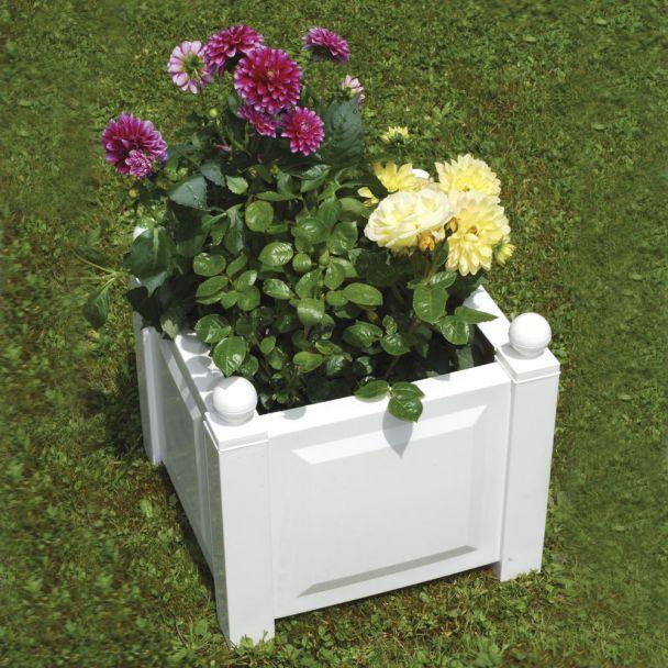 Pflanzkasten quadratisch mit Bewässerungssystem in Weiß