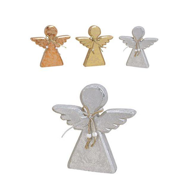 Engel aus Holz, 18 x 2 x 19 cm, silber