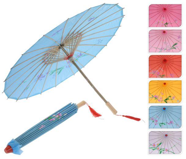 Deko Bambus Schirm, 53 cm, pink