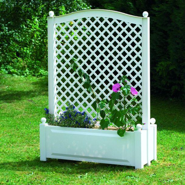 Pflanzkasten zentriert mit Spalier, 100 cm in Weiß