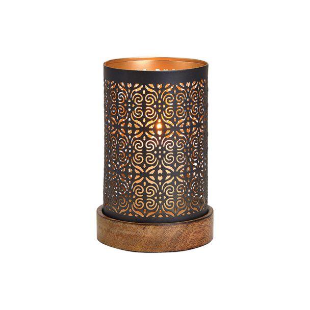 Windlicht a.Holzsockel Metall B/H/T 10x18x10 cm Schwarz