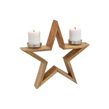Kerzenhalter Stern aus Holz, 40cm