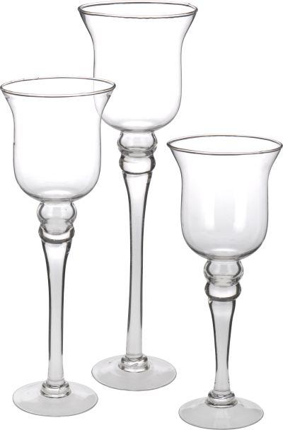 Teelichthalter aus Glas, 3-tlg.