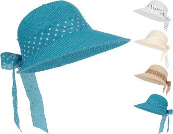Damenhut, blau mit Schleife