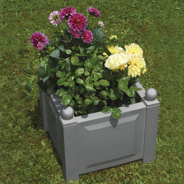 Pflanzkasten quadratisch mit Bewässerungssystem in Grau