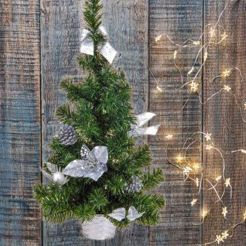 Deko Mini-Tischweihnachtsbaum - Künstlicher Tannenbaum, silber, 60 cm