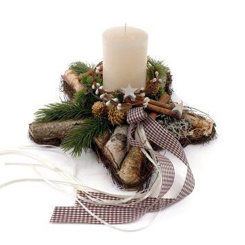 Gesteck Stern mit weißer Kerze - NaturProdukt