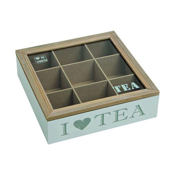 Teebox für Teebeutel mit 9 Fächer