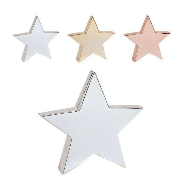Stern aus Keramik, 21 x 5 x 20 cm, silber