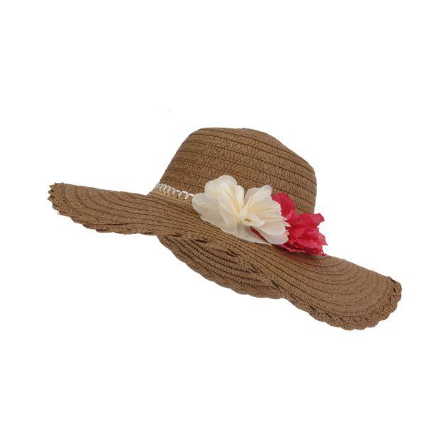 Damenhut mit Blüten, braun