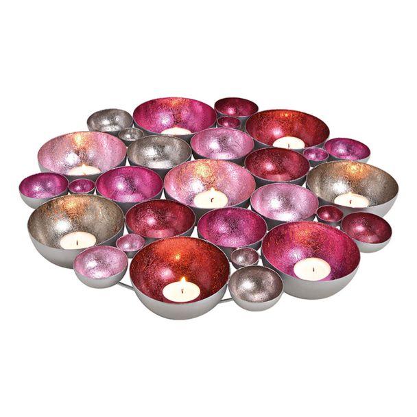 Schale/Windlicht Metall, Pink, Rosa, Silber 40cm