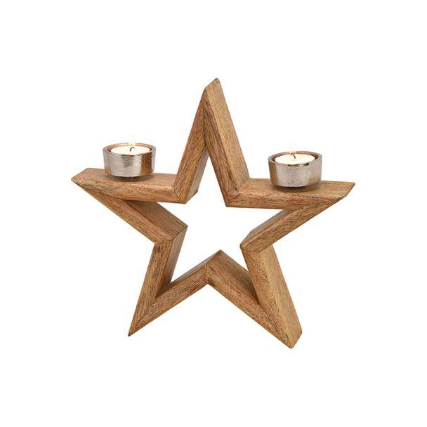 Kerzenhalter Stern aus Holz, 27cm